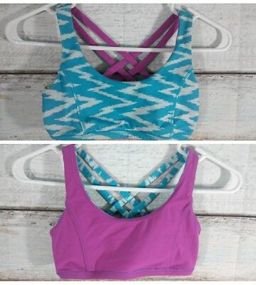 b8526b2253901 Ivivva Lululemon 10 Girls Blue Pink Reversible Vitality Cross Strap Sports  Bra