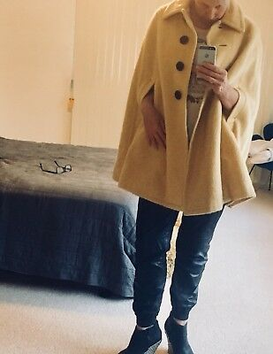 Vintage Mohair Wool Cape Poncho Coat - Mustard