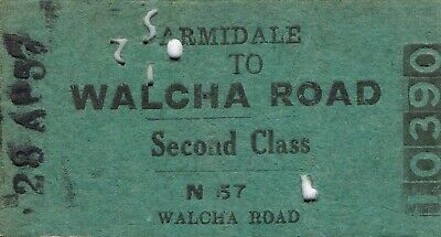 Railway tickets a trip from Armidale to Walcha Road by the old NSWGR in 1957