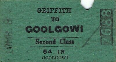 Railway tickets a trip from Griffith to Goolgowi by the old NSWGR in 1958