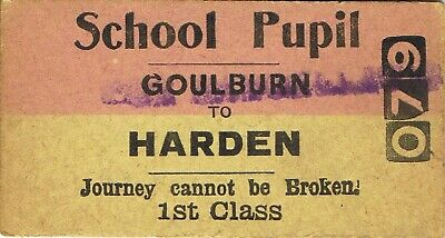 Railway tickets a trip from Goulburn to Harden by the old NSWGR