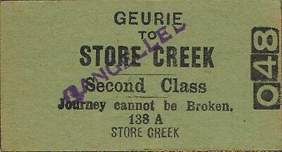 Railway tickets a trip from Geurie to Store Creek by the old NSWGR