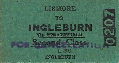 Railway tickets a trip from Lismore to Ingleburn by the old NSWGR