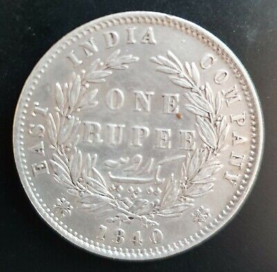 1840 One Rupee - Queen Victoria - British East India  -  - Silver..