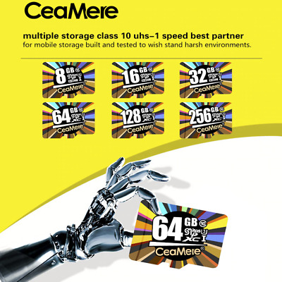 Ceamere 16GB 32GB 64GB Micro SD HC Class 10 TF Flash SDHC Memory Card w/ Adapter
