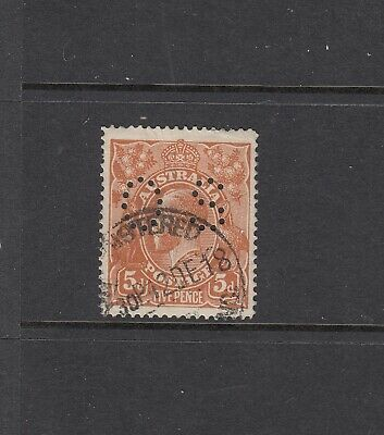 SINGLE WMK: 5d Brown Perf OS variety BW 123(b)e ($75), very well centred f/used.