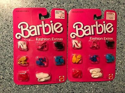 2 (Two) Vintage 1984 Barbie 8 Pairs Shoes Mattel New On Card 9121 Fashion Extras