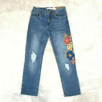 """Zara Girls Jeans Slim Casual Floral Jeans Size 10 / 10Cm  """"Nwt"""" Girls Jeans"""
