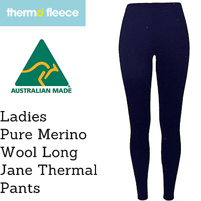 Women's Pure Merino Wool Knit Long Janes Thermal Underwear Thermals Pants - Navy