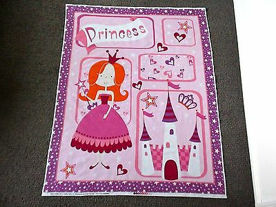 Princess Fabric Panel Castle Hearts Star Baby Girls Nursery Pink Cot Quilt Panel