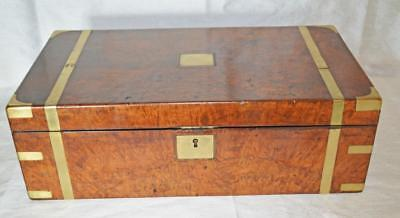Antique Burr Walnut Writing Slope / Box.Brass Inlays. Military Campaign Box ??.