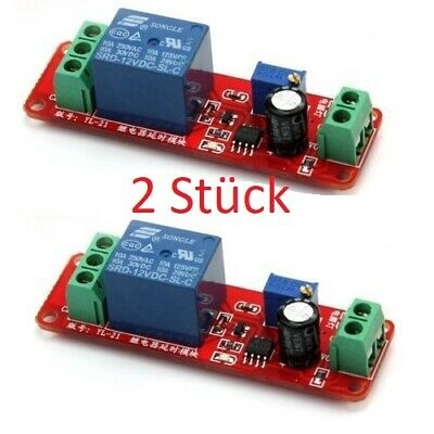 2 Stück NE555 DC 12V Delay Relay shield Timer Switch Adjustable Module 0 To 10 S
