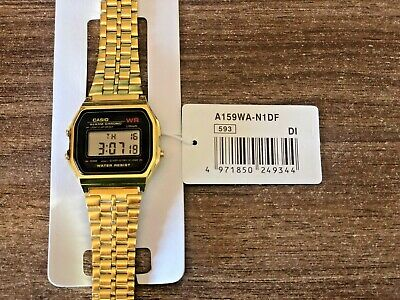 Vintage Digital Casio Stainless Steel Watch A159WA-N1DF Retro Classic Gold Color