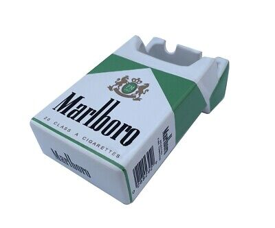Marlboro Green Ceramic Ashtray Advertising Cigarettes Pack Shape Ashtray Box