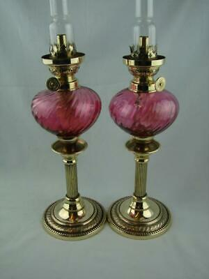 Superb Pair Of Brass Peg Oil Lamps, Swirled Cranberry Fonts, Burner, Chimney
