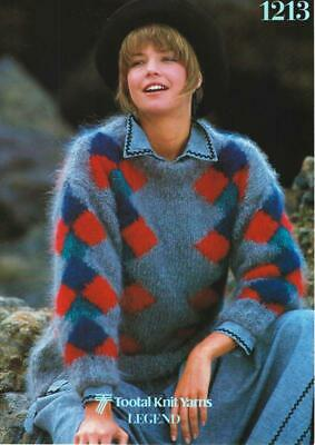 "TO1213 LADIES MOHAIR GEOMETRIC SWEATER KNITTING PATTERN 32-40""/81-102cm"