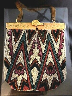 Antique Art Nouveau Gold Tone Frame Handmade Tan Knit Amber Yellow Bead Purse Clients First Clothing, Shoes & Accessories