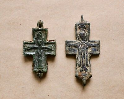 A LOT OF 2 BYZANTINE BRONZE RELIQUARY CROSSES (9th-12th cent). VERY NICE PIECES!