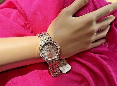 New ~Bulova Crystals Accented Rose Gold  Women's Watch 32Mm