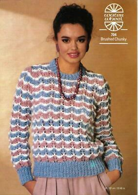 "WA704 LADIES CHUNKY LACY SWEATER KNITTING PATTERN 32-40""/81-102cm"