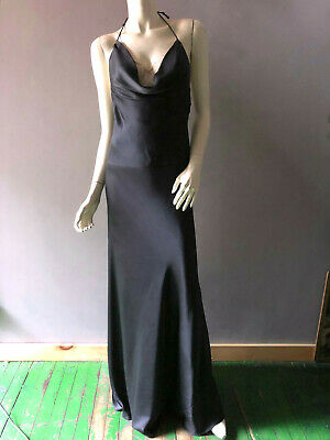 Nicole Miller Black Silk Draped Neckline Halter Red Carpet Evening Gown Sz 6 8