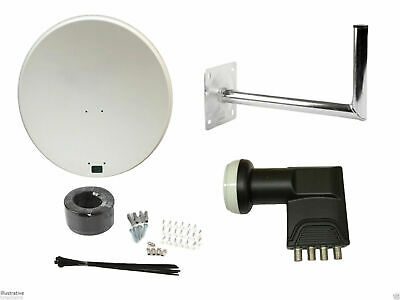 Universal 80Cm Satellite Dish With Wall Mount & Quad LNB/ Installation Kit