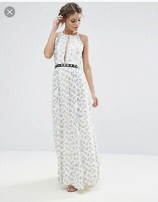 a613ca4479c True Decadence ASOS White Ditsy Floral Print Maxi Dress w  leather belt UK  6 8