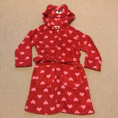 M&S Girls Red 💕 Pink Hearts Dressing Gown Bathrobe Age 5-6 Years VGC
