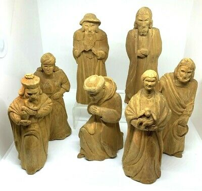 7 Vintage Hand Carved Wooden Male Figures