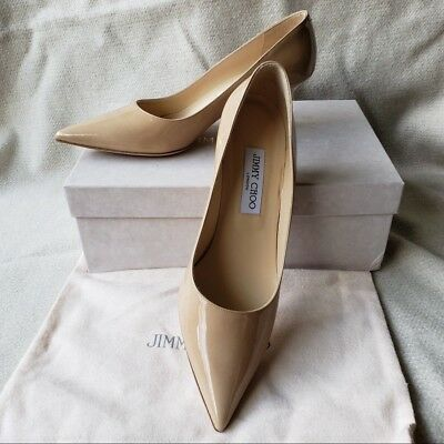 b180f74ba1d New Jimmy Choo 39.5 9.5 Aza Pointy Toe Pump Low heel Beige Nude Patent  Leather
