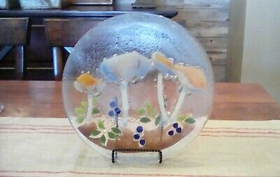 """RARE Peggy Karr Glass Mushrooms and Berries plate 11"""""""