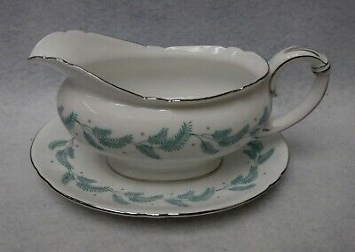 SHELLEY china SERENITY 13791 pattern 2-piece Gravy Boat or Sauce Serving Bowl