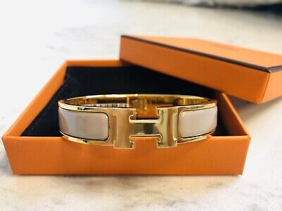 2d56274a6ad53 BNIB NEW HERMES CLIC H ENAMEL BANGLE BRACELET MARRON GLACE CHESTNUT GOLD  Size PM