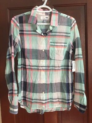 63b3ff455167 WOMENS OLD NAVY Classic Fit Plaid Button Down Shirt Small Tall ...