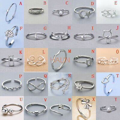 Solid Sterling Silver S925 Adjustable Open Band Midi Ring index finger Lady Gift