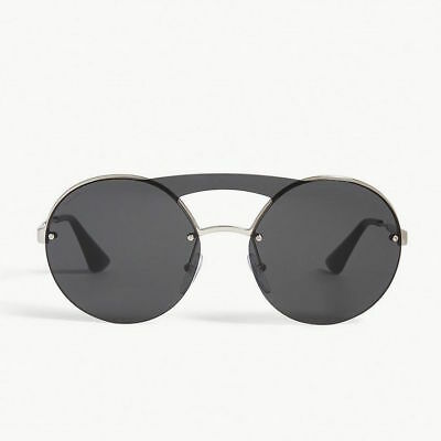 7689e032ba48b PRADA Cinema Evolution Round Brow Bar Sunglasses in Silver   Dark Grey