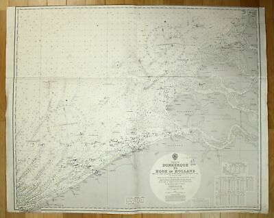 1948 North Sea - Dunkerque to Hook of Holland Netherlands France Frankreich map