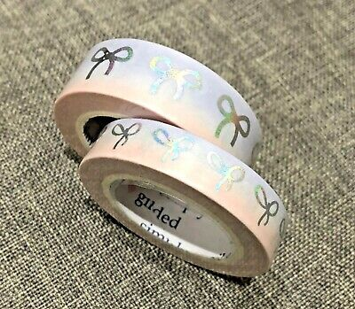NEW Simply Gilded Cotton Candy blue & pink silver Bows 15mm 10mm Washi Tape set