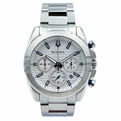 Bulova 96B307 Chronograph Stainless Steel White Dial Men's Watch - New!