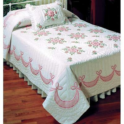 "NIP Tobin 'Rose of Sharon' Double Bed Quilt Stamped for Cross Stitch 90""X103"""