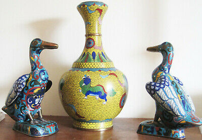 Charming ! Pair of Chinese Cloisonne Ducks early 1900s brass copper Marks