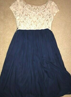 bedb76af8 GIRLS WHITE LACE and Navy Blue Speechless Dress Size 16 - $13.99 ...