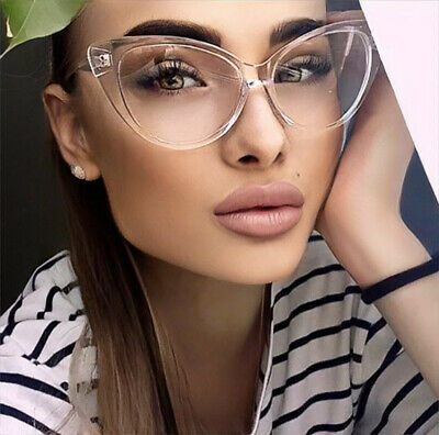af2ce33c4d4 Large Cat Eye Rockabilly Nikita Sexy PinUp Clear Lens Women Glasses LUX  Frames L