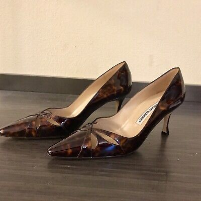 6d5a8cbe851e2 NEW MANOLO BLAHNIK Tortoise Patent Leather Strappy Pointed Toe Pump ...