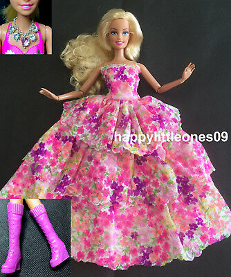 Barbie Doll Blossoms Dress/Outfit & Handmade Necklace & Shoes 3 Piece Set New