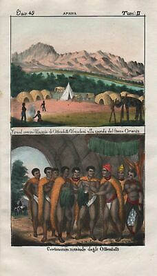 1840 - South Africa Khoikhoi people costume Lithograph Negro natives 67679