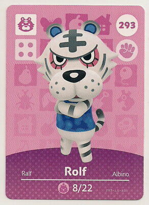 Animal Crossing amiibo Card: Rolf 293 (Series 3) White Tiger New Leaf NA