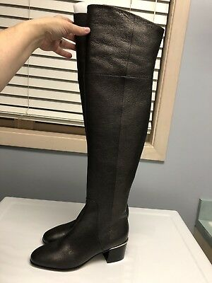b5d5233a2ba NEW JIMMY CHOO Harmony Over the Knee Boots Metallic Brown 38.5 ...