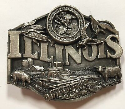 1986 Siskiyou Pewter Belt Buckle Illinois Agriculture N-55