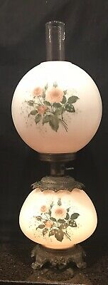 Authentic  Antique Hand Painted Dual Lighting Gone WT Wind Lamp Brass Base